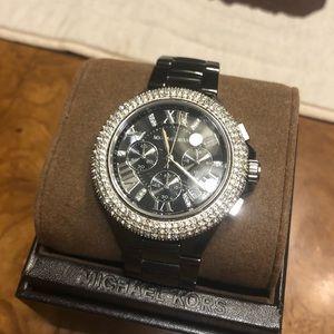 Michael Kors Black Ceramic Diamond Watch, with Box
